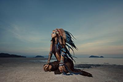 Indian Blue - Fotokunst vrouw