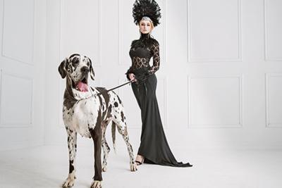 Fotokunst  vrouw met hond