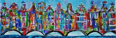 Amsterdamse grachtenpandjes - 180 x 60 - Vrolijk schilderij