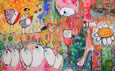 Bubbles, Bubbles, Bubbles II - 160 x 100 cm - Vrolijk schilderij groot