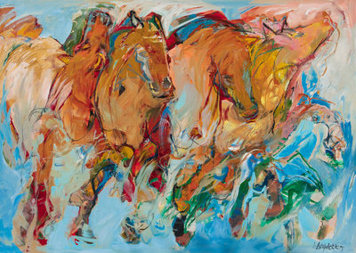 Wild horses - 140 x 100 cm - Paarden schilderij