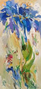 Blue waterfall - 60 x 140 cm - Bloemen schilderij