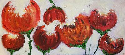 Dansende pioenrozen - 180 x 80 cm - Groot bloemen schilderij