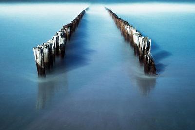 Bollards in the sea