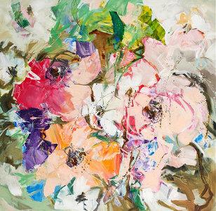 Soft Blush - 100 x 100 cm - Abstract bloemen schilderij