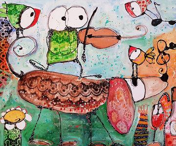 Follow the music - 120 x 100 - Vrolijk schilderij