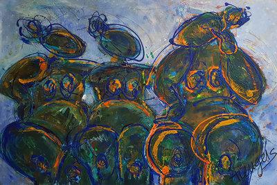 Verenigd - 150 x 100 cm - Groot vrouwen schilderij