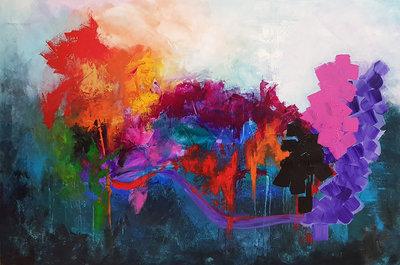 Let the love flow - 150 x 100 cm - Groot abstract schilderij