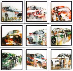 Serie Porsches - 63 x 63 cm - Epoxy schilderij