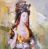 Oriental-II-110-x-110-cm-Vrouwen-schilderij