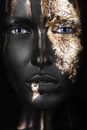 Golden-face-II-Fotokunst-vrouw