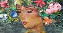 That-Flower-Feeling-190-x-100-cm--Schilderij-vrouw-bloemen