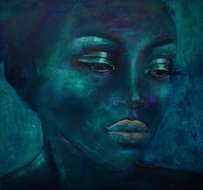 Night-Light-110-x-110-cm-Schilderij-Vrouw-Blauw