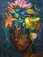 Vrouw bloemen schilderij