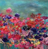 Landschap bloemen schilderij