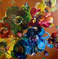 Flowers-of-Warmth-130-x-130-cm-Bloemen-schilderij