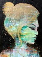 vrouw abstract zwart goud