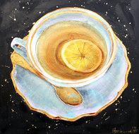 Schilderij kopje thee