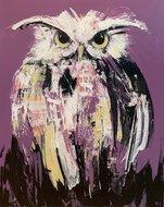 Hes uil schilderij paars