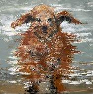 SChilderij hond bruin hes