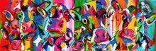 Koeien-met-kalf-180-x-60-cm-Vrolijk-schilderij