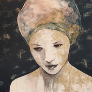 Only-thoughts--110-x-110-cm-Groot-schilderij-vrouw
