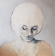 Quiet-dreams--110-x-110-cm-Groot-schilderij-vrouw